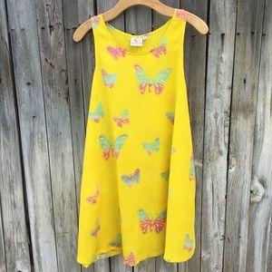 Vintage Butterfly Print Sleeveless Dress Yellow S